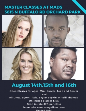 Master Classes  August 14th, 15th & 16th